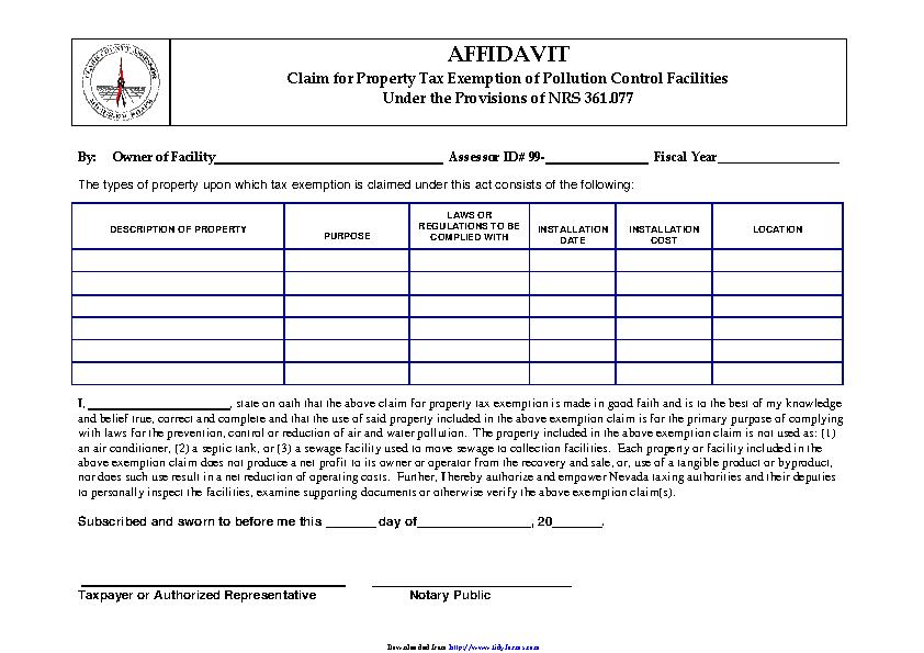 Nevada Pollution Control Affidavit Form