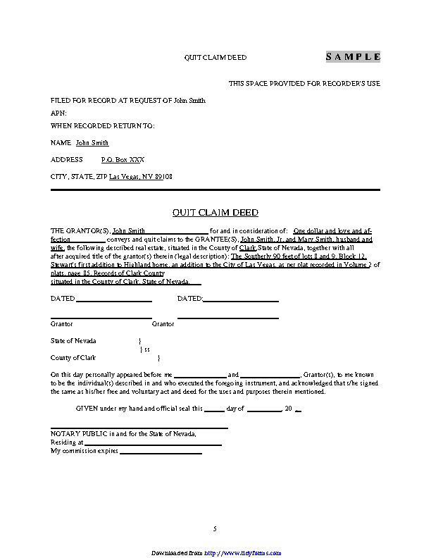 Nevada Quitclaim Deed Form