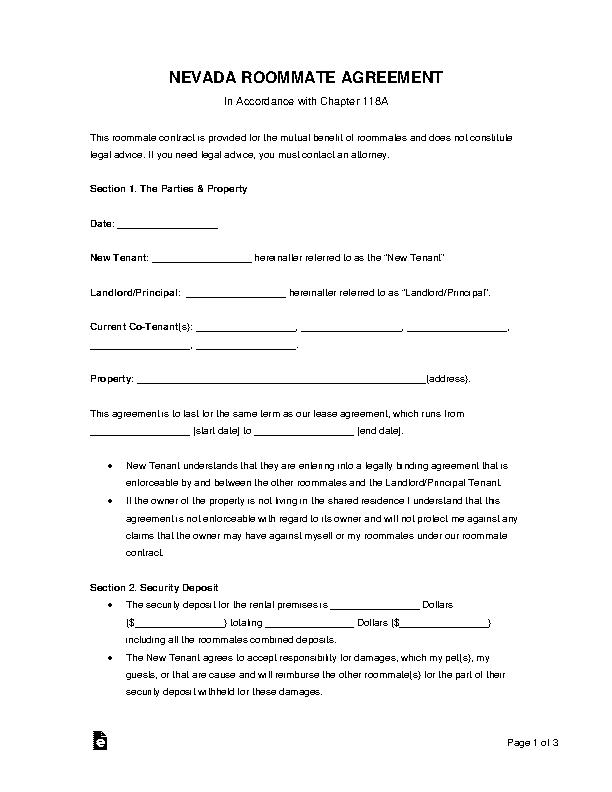 Nevada Roommate Agreement Form
