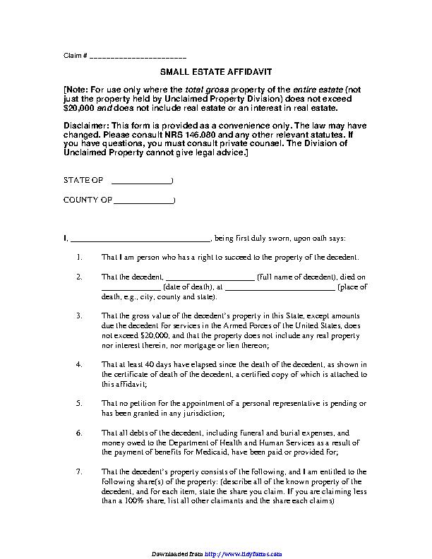 Nevada Small Estate Affidavit Form