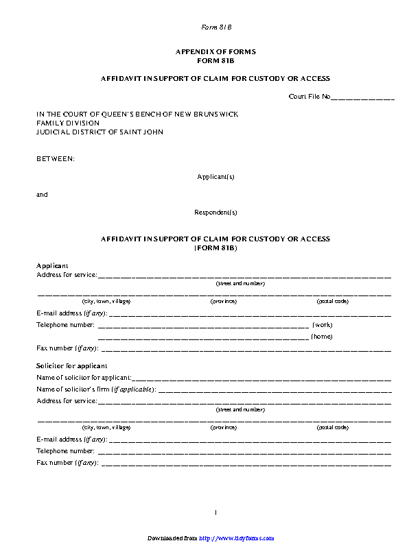 New Brunswick Affidavit In Support Of Claim For Custody Or Access Form