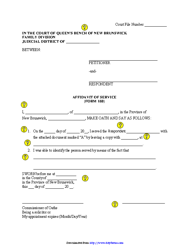 New Brunswick Affidavit Of Service Personal Service Form