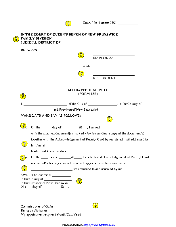 New Brunswick Affidavit Of Service Service By Registered Mail Form