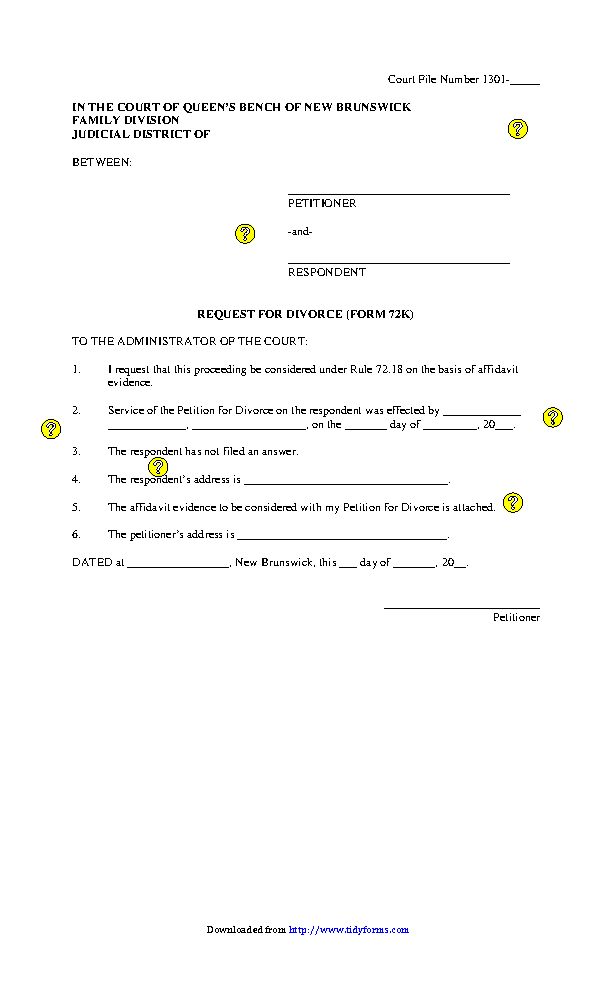 New Brunswick Request For Divorce Form