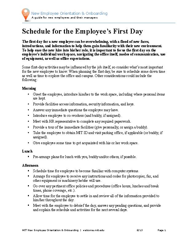 New Employee Orientation Schedule Template Word Doc
