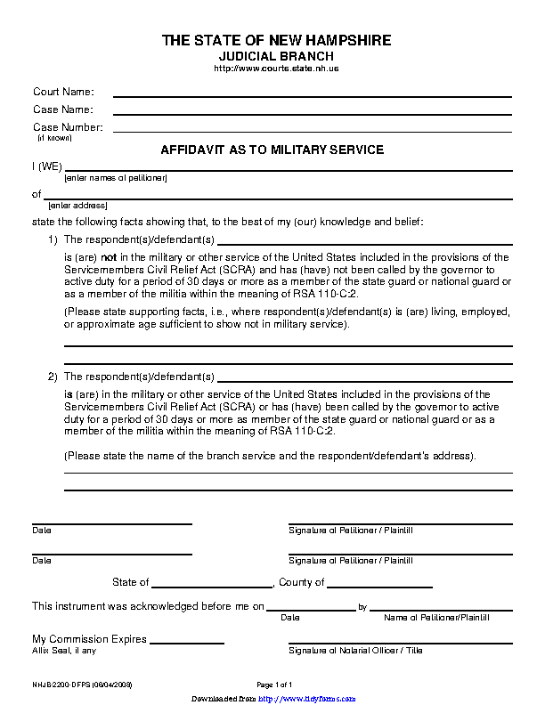 New Hampshire Affidavit As To Military Service Form