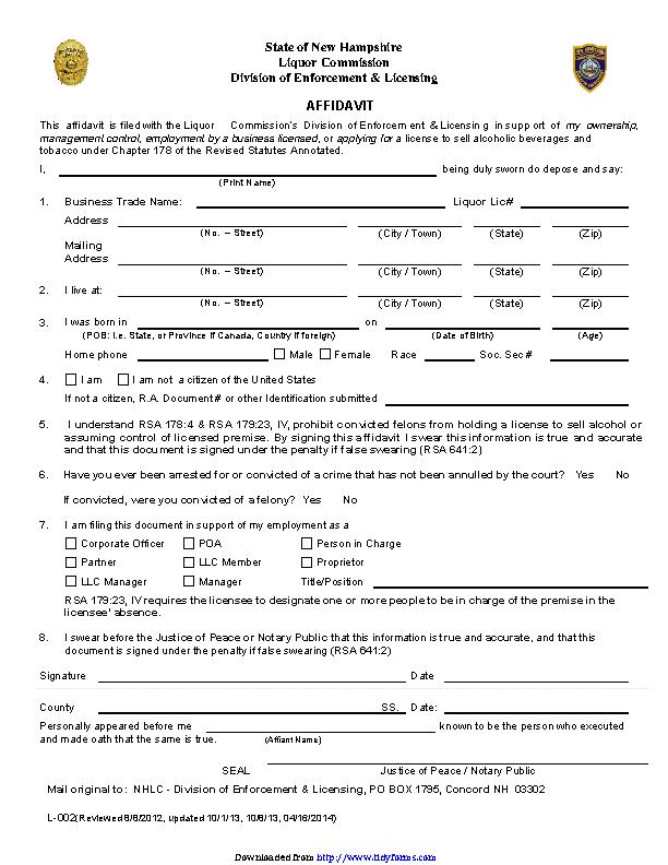 New Hampshire Affidavit Form