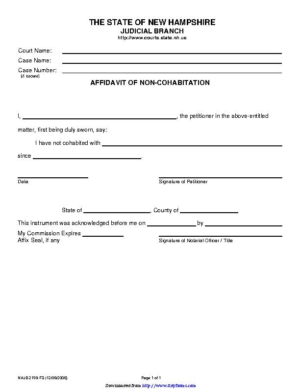 New Hampshire Affidavit Of Non Cohabitation Form