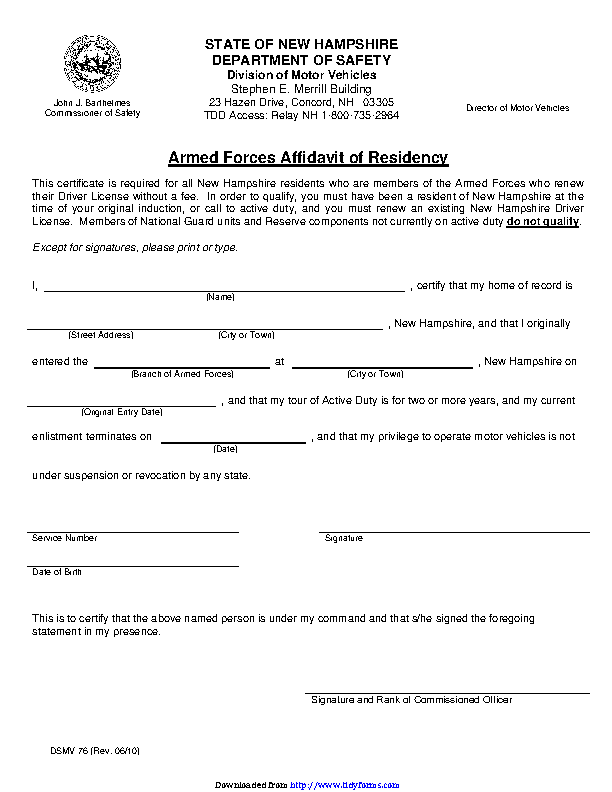 New Hampshire Armed Forces Affidavit Of Residency Form