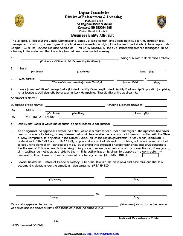 New Hampshire Business Entity Affidavit Form