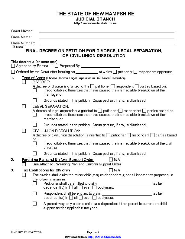 New Hampshire Final Decree On Divorce Or Legal Separation Form