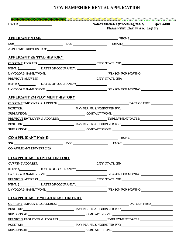 New Hampshire Rental Application Form