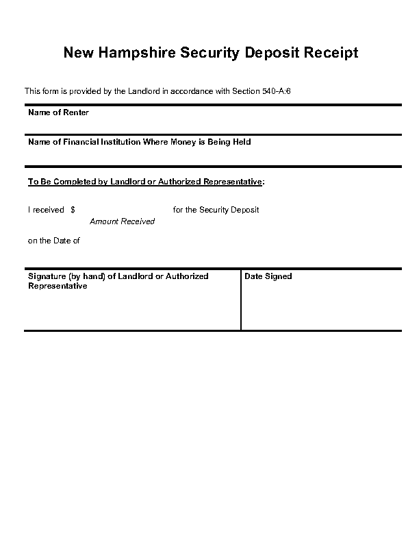 New Hampshire Security Deposit Receipt Form