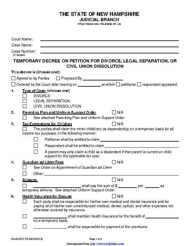 New Hampshire Temporary Decree On Divorce Or Legal Separation Form
