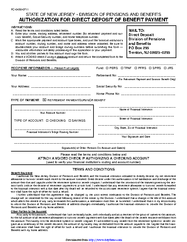 New Jersey Direct Deposit Form 3