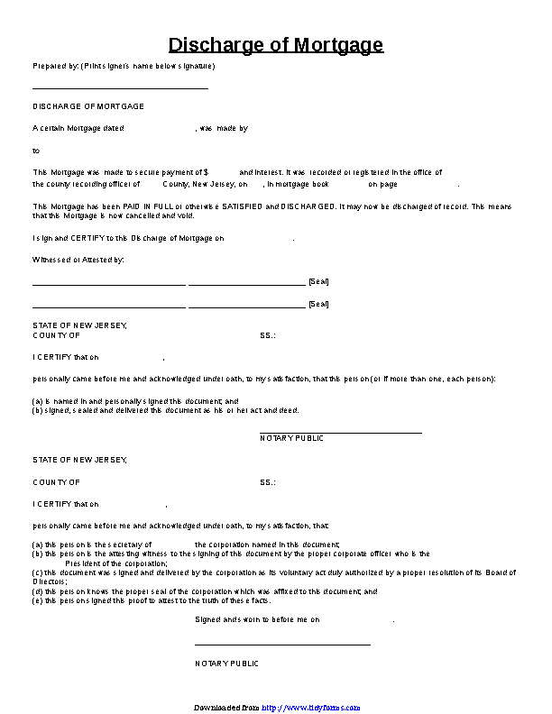 New Jersey Discharge Of Mortgage