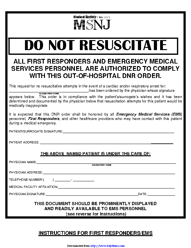 picture regarding Printable Do Not Resuscitate Form named Fresh Jersey Do Not Resuscitate Sort - PDFSimpli