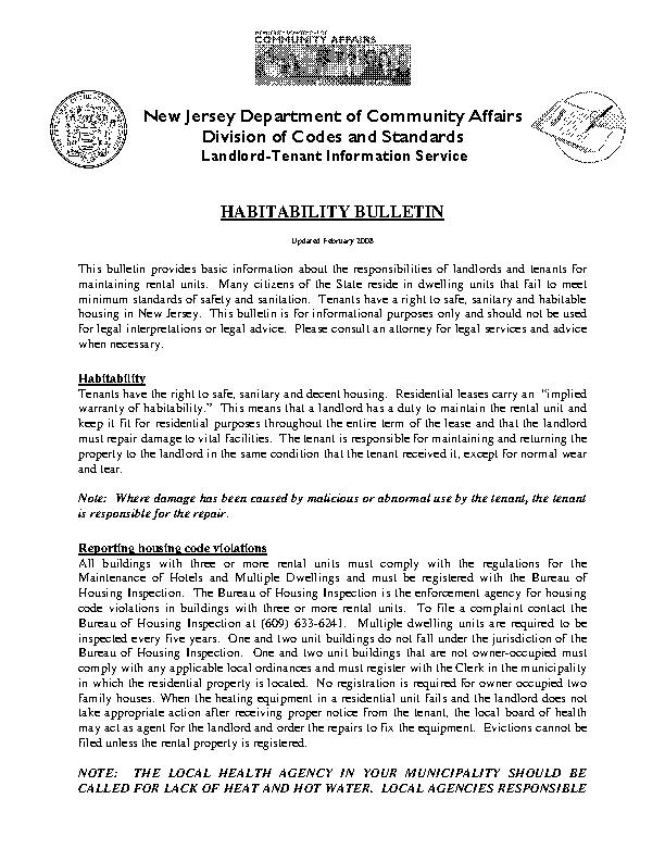 New Jersey Habitability Bulletin