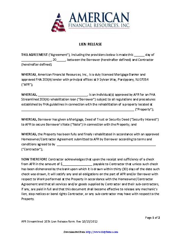 New Jersey Lien Release Form - PDFSimpli