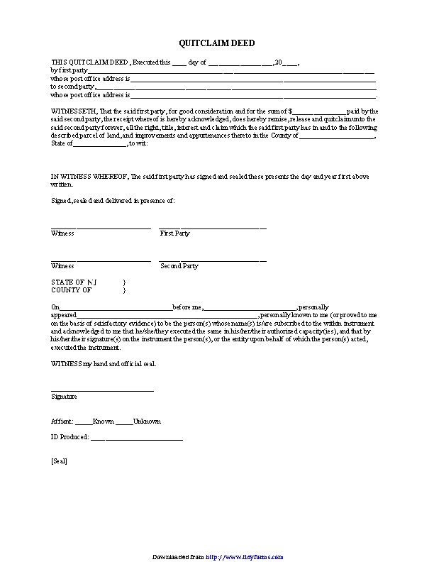 New Jersey Quitclaim Deed Form 2