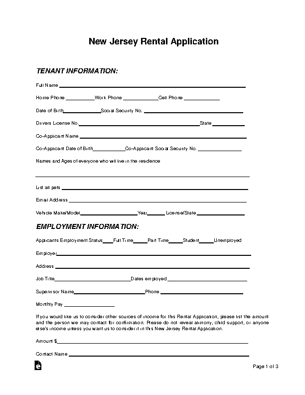New Jersey Rental Application Form
