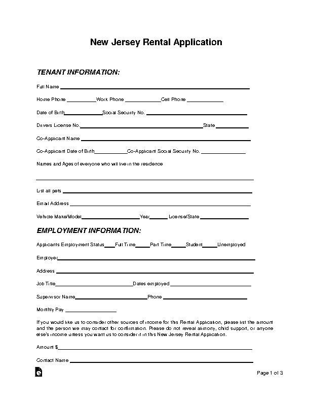 New Jersey Rental Application Form