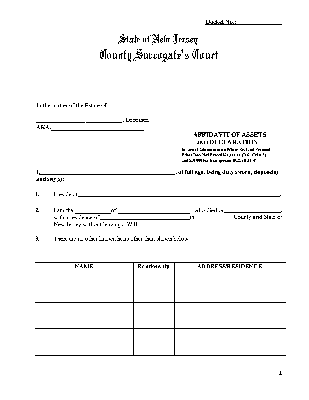 New Jersey Small Estate Affidavit Form