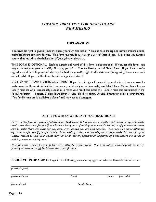 New Mexico Advance Health Care Directive