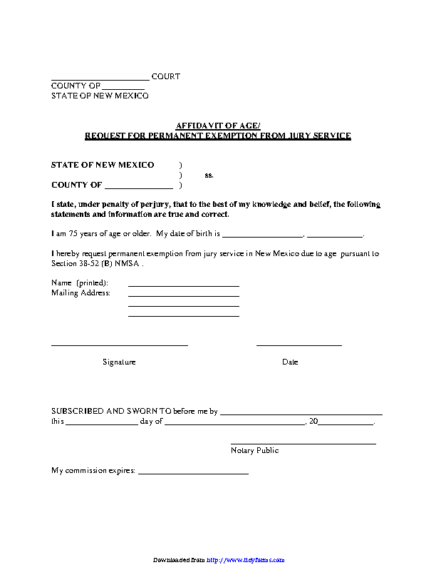 New Mexico Affidavit Of Age Request For Permanent Exemption From Jury Service Form