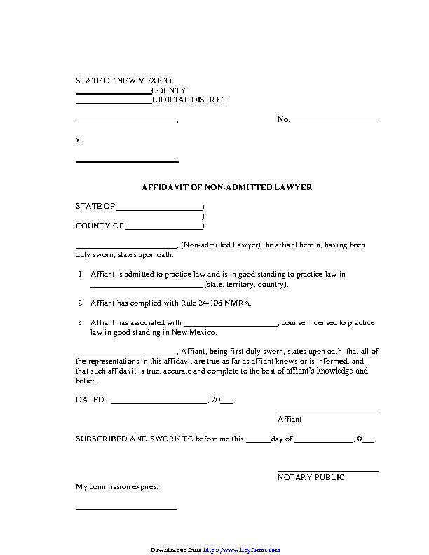 New Mexico Affidavit Of Non Admitted Lawyer Form