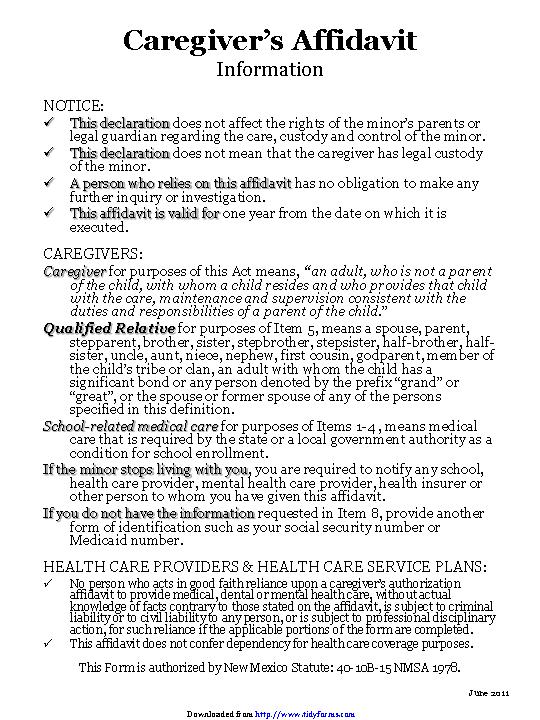New Mexico Caregivers Authorization Affidavit Form