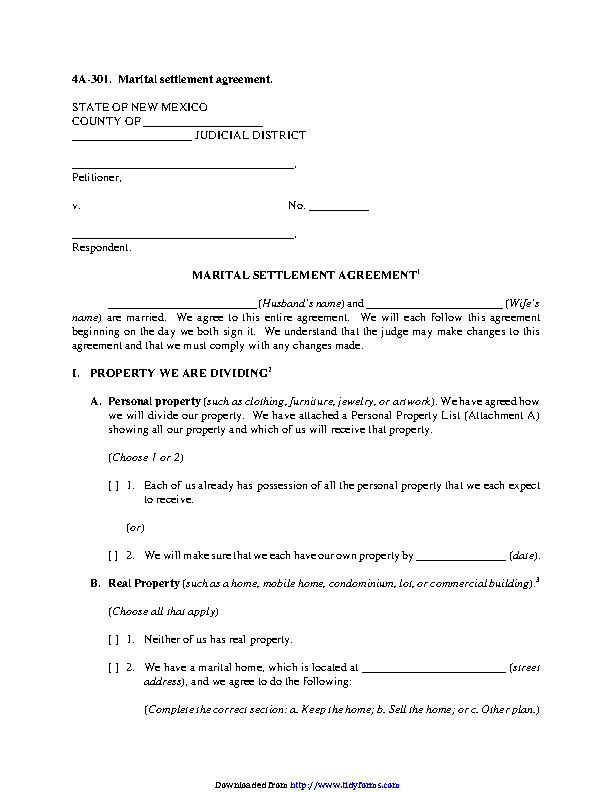 New Mexico Marital Settlement Agreement Form