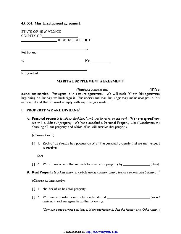 New Mexico Marital Settlement Agreement Form