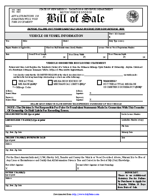 Motor Vehicle Bill Of Sale >> New Mexico Motor Vehicle Bill Of Sale Form Pdfsimpli