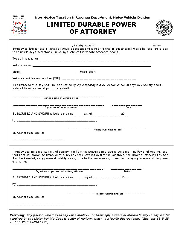 New Mexico Motor Vehicle Power Of Attorney Mvd11020