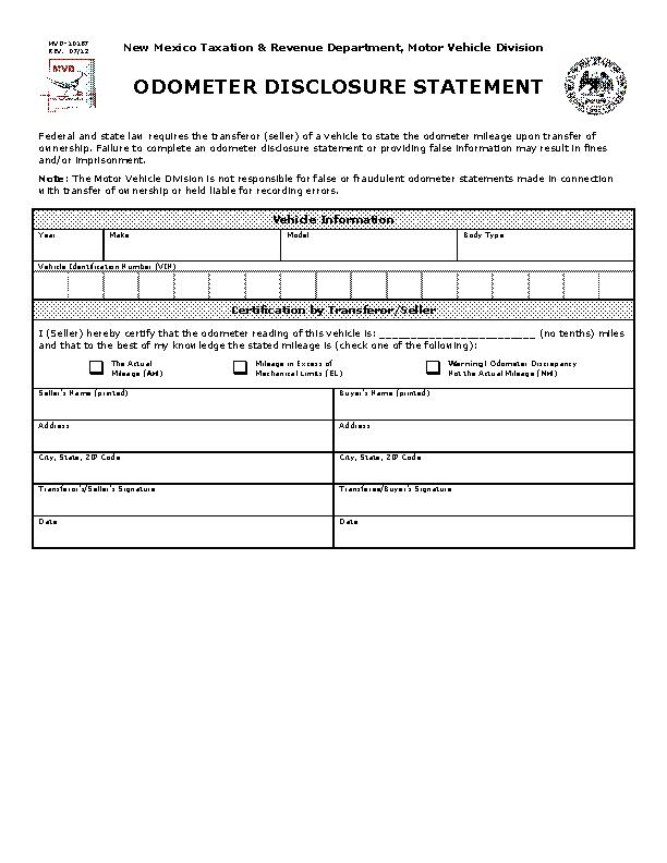 New Mexico Odometer Dislcosure Statement Form Mvd10187