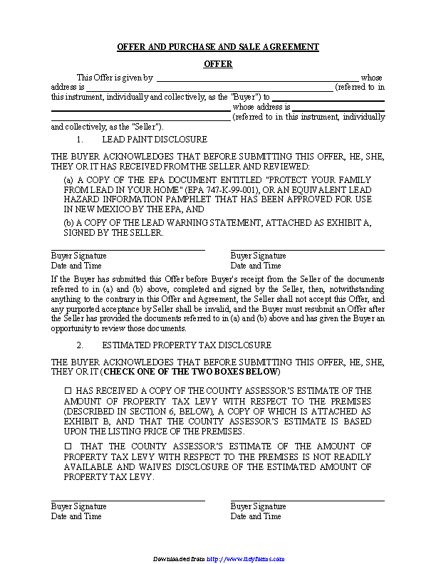 New Mexico Offer And Purchase And Sale Agreement Form Pdfsimpli