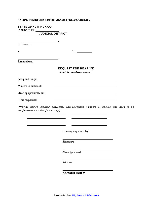New Mexico Request For Hearing Domestic Relations Actions Form