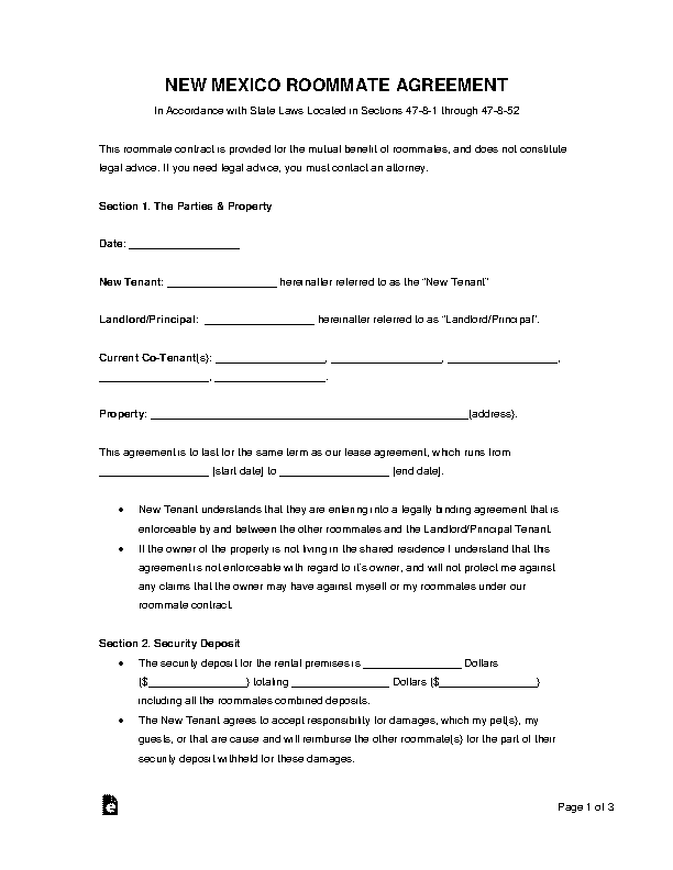 New Mexico Roommate Agreement Form