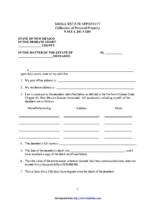 New Mexico Small Estate Affidavit Form