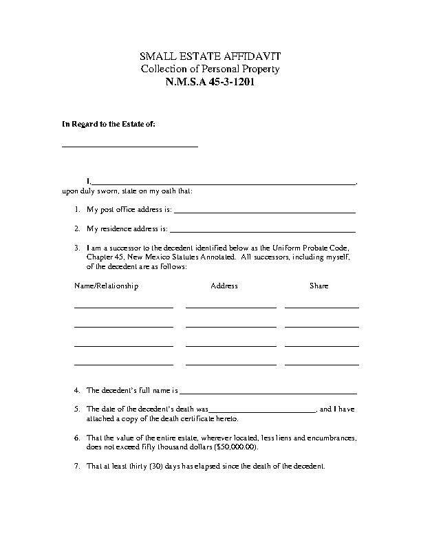 New Mexico Small Estate Affidavit