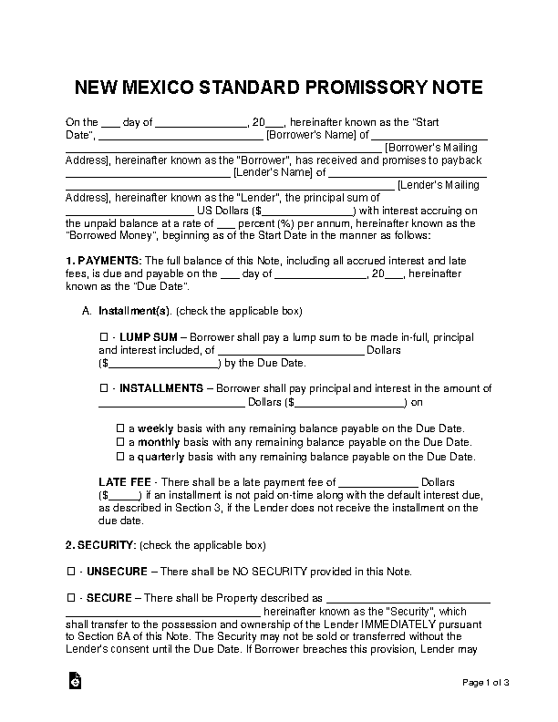 New Mexico Standard Promissory Note Template