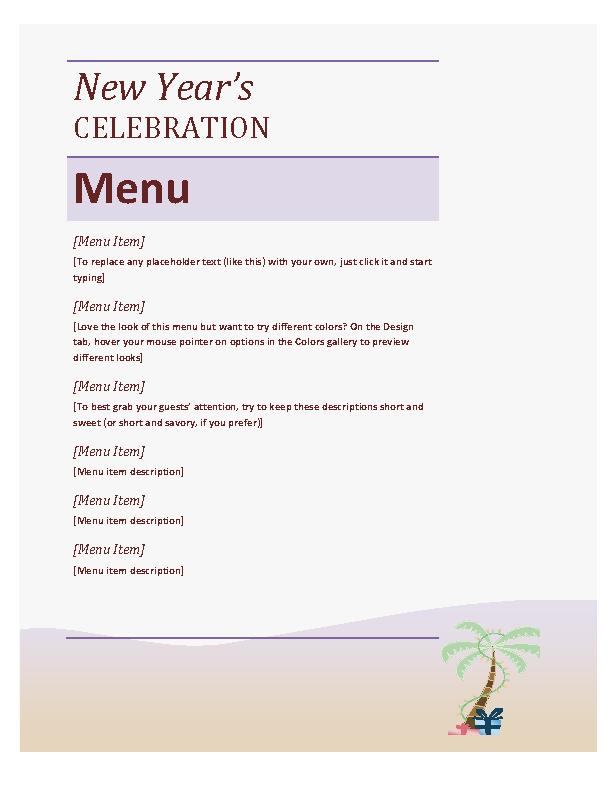 New Year Party Menu Sheet