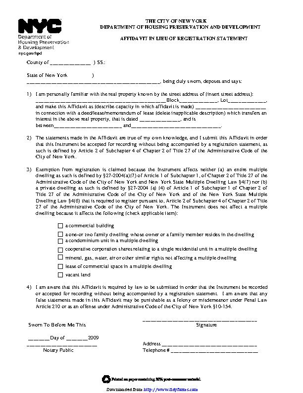 New York Affidavit Lieu Of Registration Statement