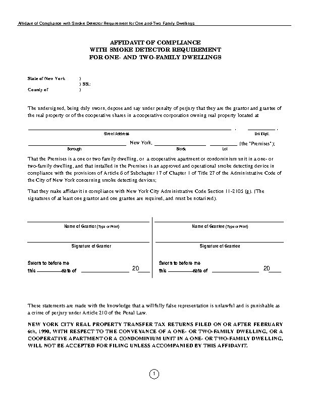 New York Affidavit Of Compliance With Smoke Detector Requirement