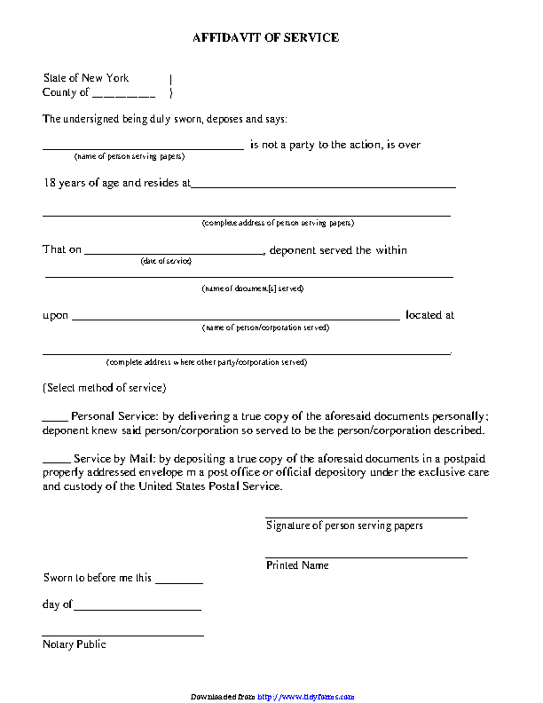 New York Affidavit Of Service