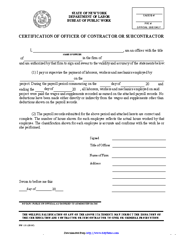 New York Certification Of Officer Of Contractor Or Subcontractor