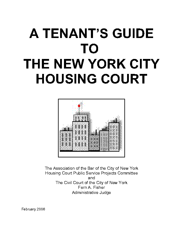 New York City Housing Court Eviction Guide Tenants