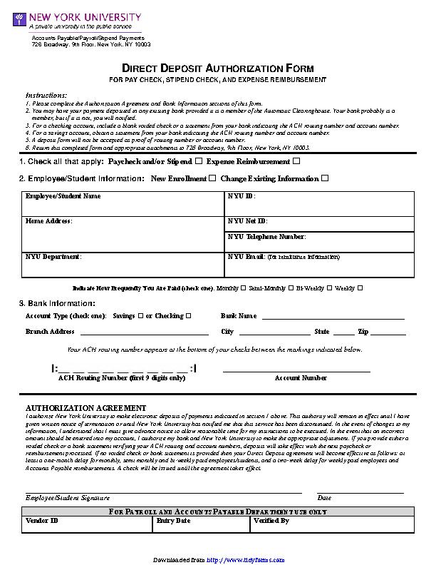 New York Direct Deposit Form 2