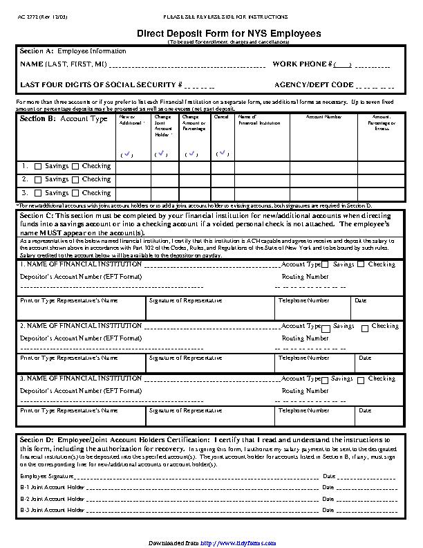 New York Direct Deposit Form 3